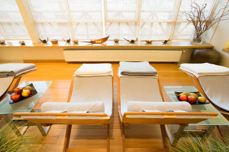 beauty center: Close-up of comfortable deck chairs in spa room