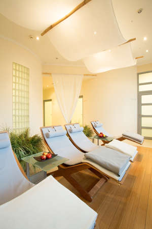 beauty center: Comfortable deck chairs in modern beauty center Stock Photo