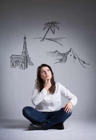 decission: ragazza sognare vacanze su