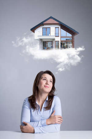woman dreaming about new house photo