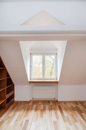attic: View of bright room in the attic