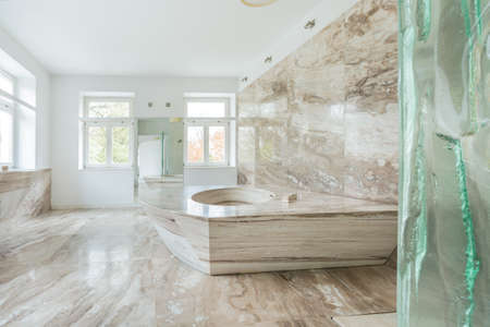 View of marble bathroom in expensive house Stock Photo