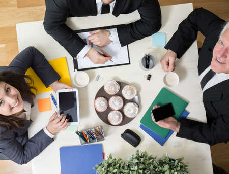 kindly: Horizontal view of kindly atmosphere during business meeting Stock Photo