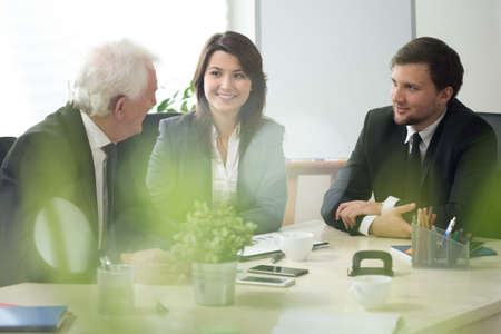 Image of businesspeople participating in business consultation Stock Photo