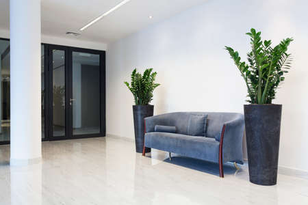 Hall with comfortable sofa in modern hotel 스톡 콘텐츠