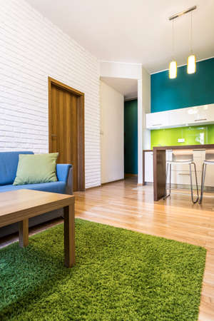 small room: Modern apartment interior with green and blue details Stock Photo