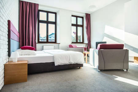 floor covering: Beauty hotel room interior with violet design