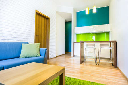 Green hotel room with sofa and kitchenette photo