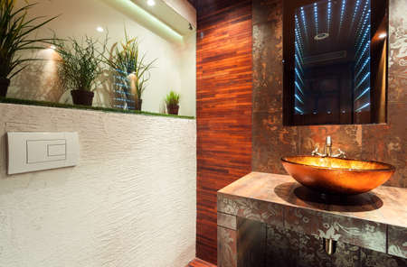 View of modern bathroom in expensive house photo