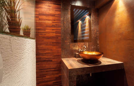wooden furniture: Interior of expensive bathroom with golden sink