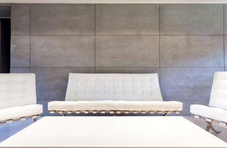 modern living: White luxury furniture in modern living room Stock Photo
