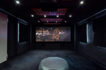 costly: Horizontal view of private cinema at home