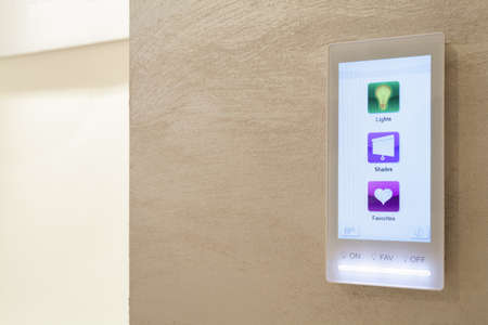 intelligent: Touch pad in the intelligent house, horizontal Stock Photo