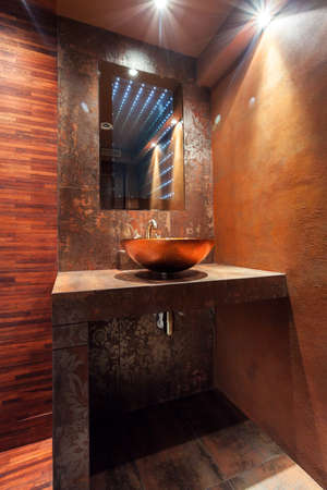 handbasin: Vertical view of modern washbowl in luxury bathroom Stock Photo