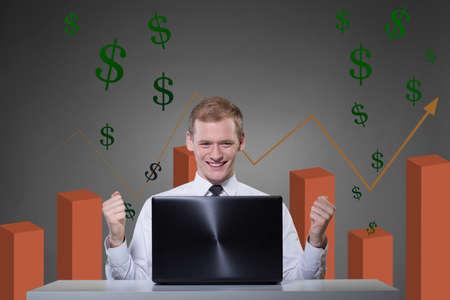 stockbroker: Horizontal view of financial success of young stockbroker