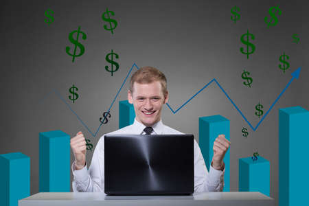 playing the market: Portrait of successful man playing the market Stock Photo