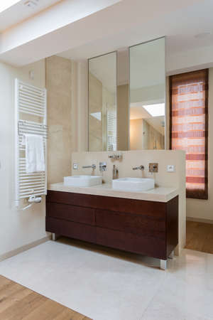 Two washbasins in bathroom in designer apartment
