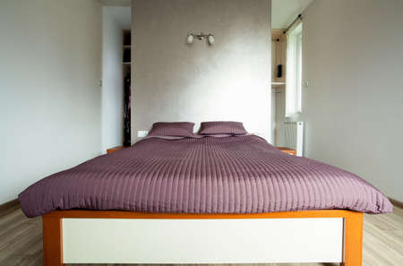 Large bed in the big luxury bedroom photo