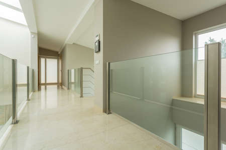Close-up of spacious bright hall in luxury mansion photo
