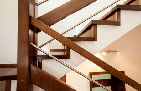 elegant staircase: Close-up of wooden stylish stairs