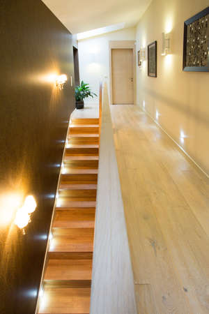 View of illuminated stairs in luxury residence photo