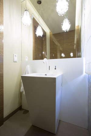 Bath And Washbasin In Modern Bathroom Interior Stock Photo ...