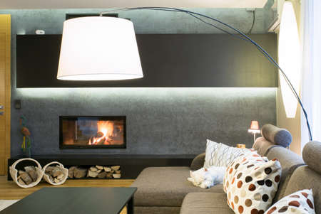 places: Designed lamp in modern luxury living room Stock Photo