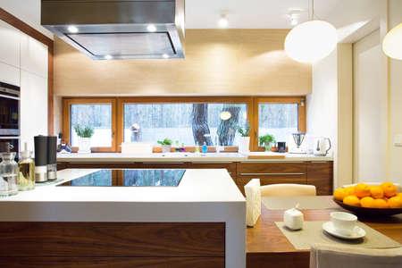 Horizontal view of luxury kitchen with modern equipment Stock Photo