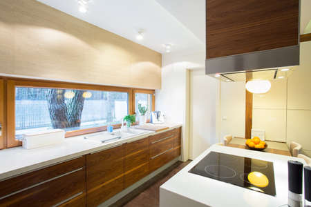 View of modern kitchen inside new apartment
