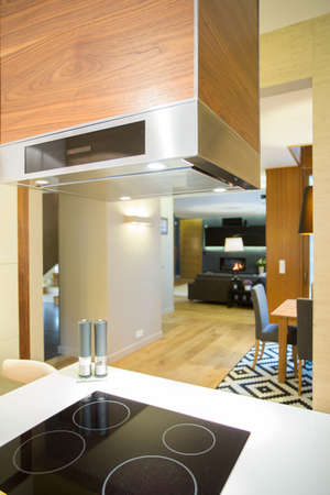 Induction hob and hood in modern kitchen