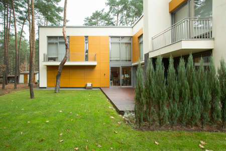 View of modern house from the outside Stock Photo