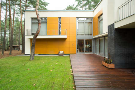 Designed and expensive house in the suburbs Stock Photo