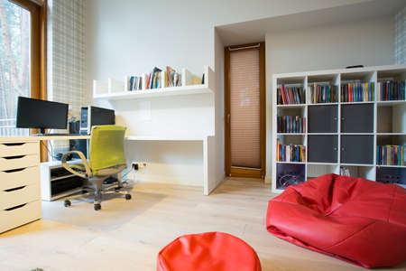 living room furniture: Modern spacious study room with red bag chair
