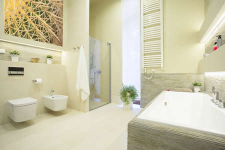 Luxury beauty bathroom in pastel colors interior