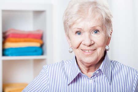 Portrait of older nice lady Stock Photo