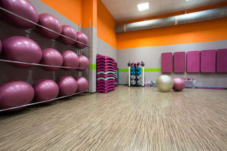 gymnasium: Interior of equipped gym at fitness center