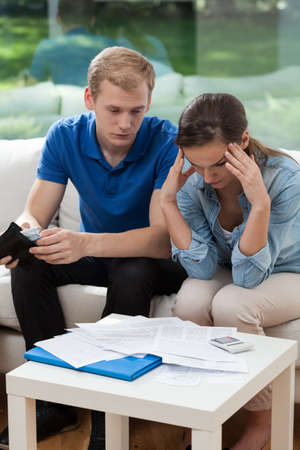 Image of married couple having financial troubles Stock Photo