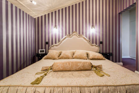 enormous: View of enormous bed inside baroque bedroom Stock Photo
