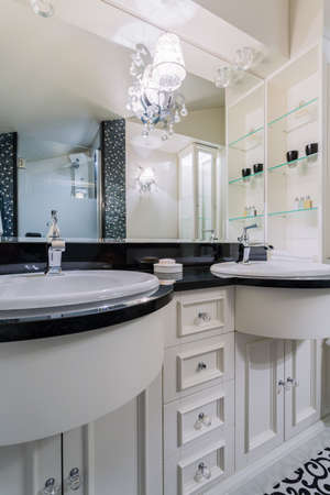 Interior of black and white bathroom, vertical