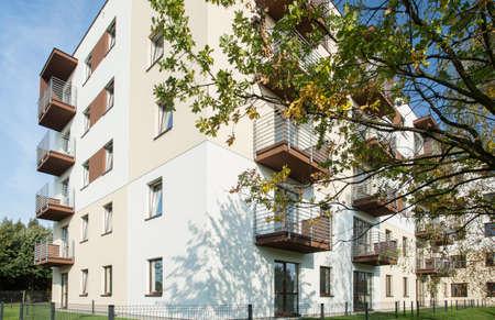housing development: White residential block in new exclusive housing development Stock Photo
