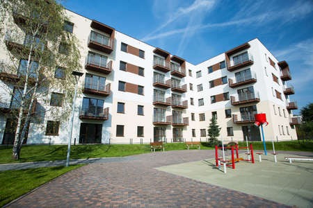 place for children: Newly built housing development with place for children Stock Photo