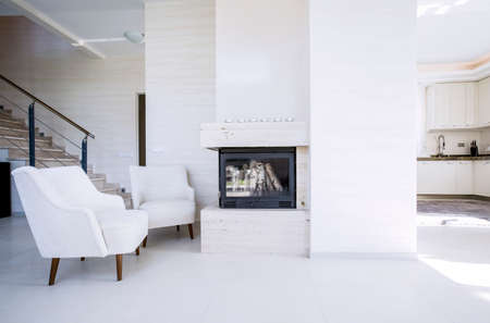 View of fireplace in modern, new house