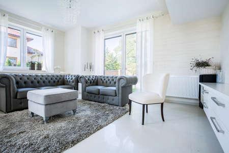 uvnitř: Klasický nábytek v moderním, novém domě, horizontální