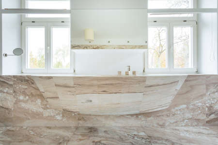 expensive granite: View of marble sink in expensive bathroom Stock Photo