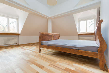 bed frame: Empty room interior with old fashioned bed