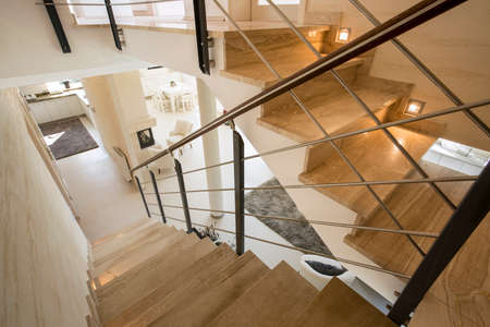 View of marble staircase in expensive house