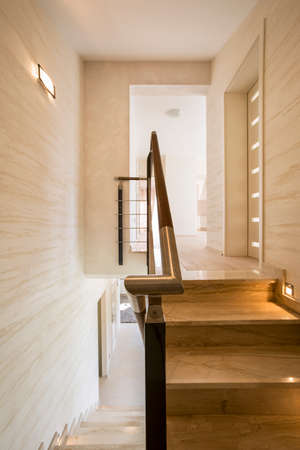 expensive granite: Vertical view of travertine on the wall Stock Photo
