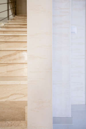 Vertical view of marble stairs in luxury apartment