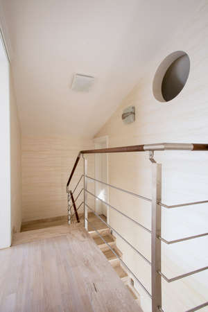 Marmoreal staircase in a modern apartment photo