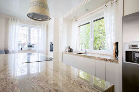 stone worktop: Beauty and luxury kitchen with marble worktop Stock Photo